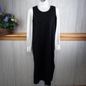 Vintage 80s 90s Black Jumper Dress White Blouse